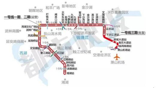 杭州地铁1号线三期线路图-杭州地铁10条线最新消息一览图片