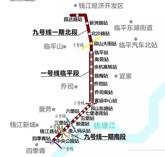 杭州地铁9号线一期线路图-杭州地铁10条线最新消息一览