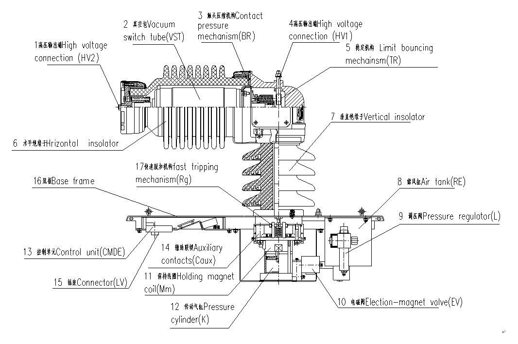 BVAC.N99D型真空断路器及其部件